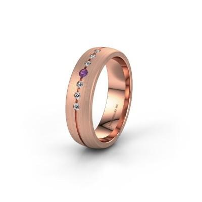 Trouwring WH0162L25A 375 rosé goud amethist ±5,5x1.7 mm
