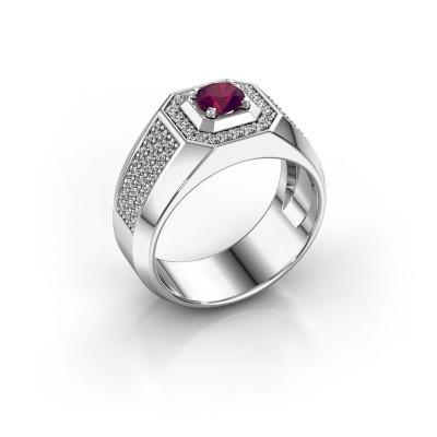Heren ring Pavan 375 witgoud rhodoliet 5 mm