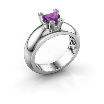 Ring Cornelia Heart 925 silver amethyst 6 mm
