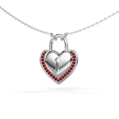 Halsketting Heartlock 925 zilver robijn 1 mm