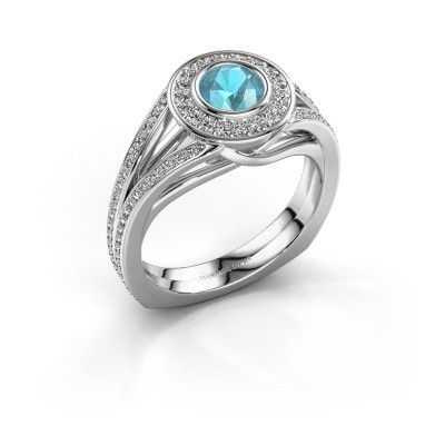 Foto van Ring Kellee 950 platina blauw topaas 5 mm