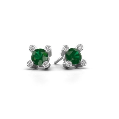Picture of Stud earrings Cornelia Round 925 silver emerald 6 mm