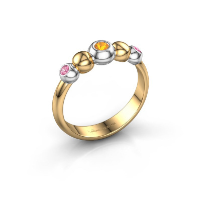 Stackable ring Lily 585 gold citrin 2.5 mm