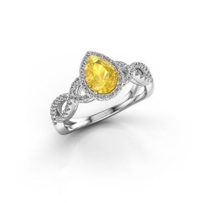 Foto van Verlovingsring Dionne 585 witgoud gele saffier 7x5 mm