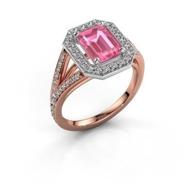 Promise ring Angelita EME 585 rosé goud roze saffier 8x6 mm
