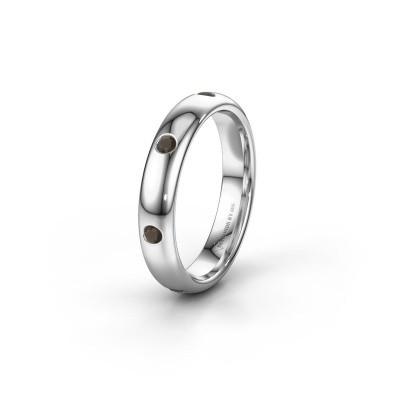 Wedding ring WH0105L34BP 950 platinum smokey quartz ±0.16x0.08 in