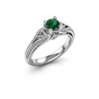 Foto van Verlovingsring Nikita 585 witgoud smaragd 5 mm