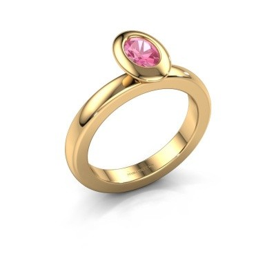 Stapelring Trudy Oval 585 goud roze saffier 6x4 mm