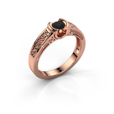 Photo de Bague de fiançailles Elena 375 or rose diamant noir 0.30 crt