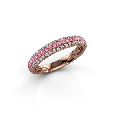 Picture of Ring Emely 2 375 rose gold pink sapphire 1.3 mm