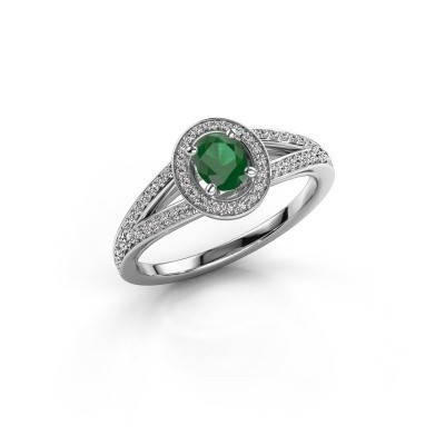 Verlovings ring Angelita OVL 925 zilver smaragd 6x4 mm