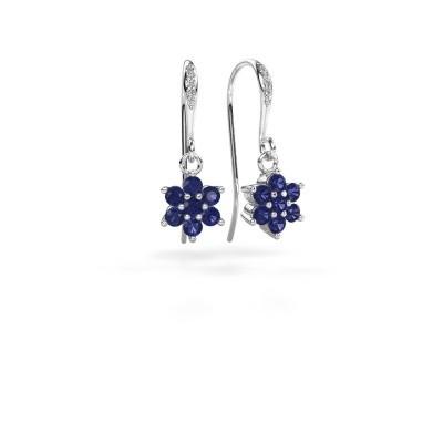 Picture of Drop earrings Dahlia 2 950 platinum sapphire 2.2 mm