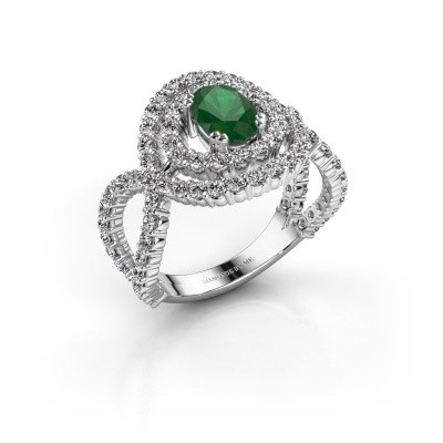 Ring Chau 950 platina smaragd 7x5 mm