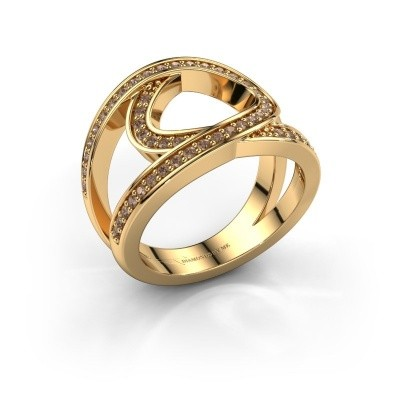 Ring Louise 375 goud bruine diamant 0.443 crt