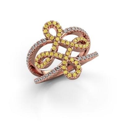 Foto van Ring Chantay 375 rosé goud gele saffier 1.2 mm