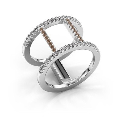 Ring Amee 950 platina bruine diamant 0.407 crt