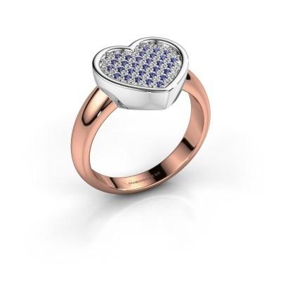 Foto van Ring Veerle 585 rosé goud saffier 1 mm