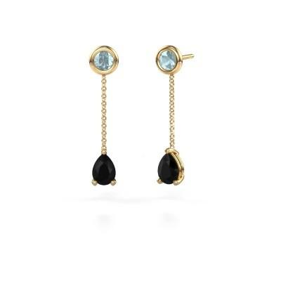 Foto van Oorhangers Laurie 3 375 goud zwarte diamant 0.78 crt