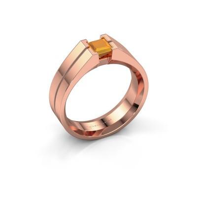 Foto van Heren ring Stefan 375 rosé goud citrien 4.5 mm