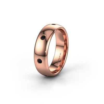 Wedding ring WH0105L36BP 375 rose gold black diamond ±0.24x0.08 in