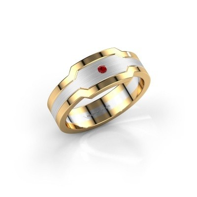 Photo de Bague pour homme Guido 585 or blanc rubis 2 mm