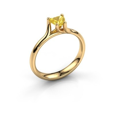 Verlobungsring Dewi Heart 375 Gold Gelb Saphir 5 mm