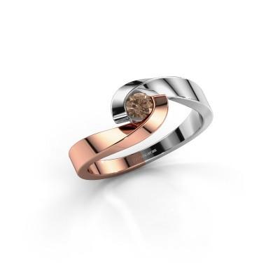 Foto van Verlovingsring Sheryl 585 rosé goud bruine diamant 0.20 crt