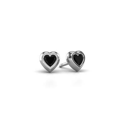 Stud earrings Charlotte 375 white gold black diamond 0.60 crt