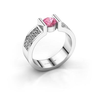 Verlovingsring Isabel 3 950 platina roze saffier 5 mm