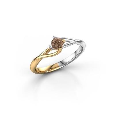 Foto van Verlovingsring Paulien 585 goud bruine diamant 0.25 crt