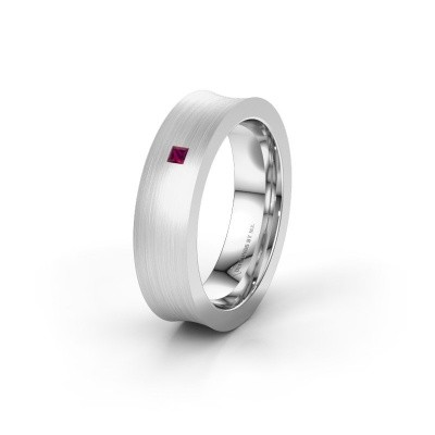 Wedding ring WH2238L2 585 white gold rhodolite ±0.24x0.09in