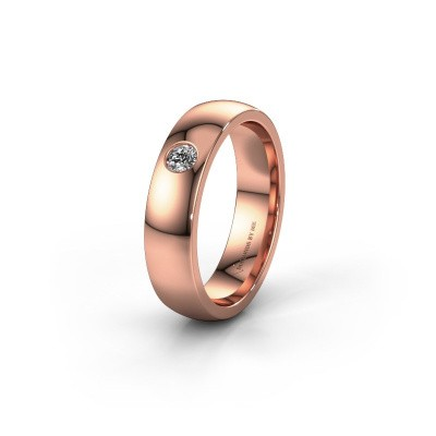 Trouwring WH0101L25BP 375 rosé goud diamant ±5x2 mm