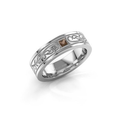 Men's ring Matijs 585 white gold smokey quartz 3 mm