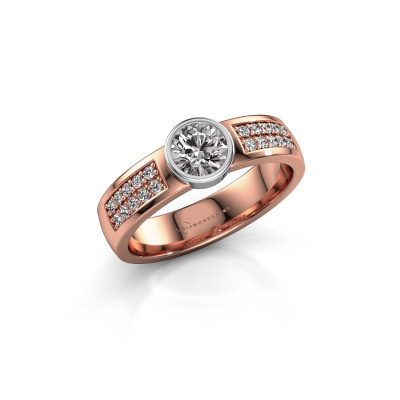 Engagement ring Ise 3 585 rose gold zirconia 4.7 mm