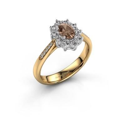 Verlovingsring Leesa 2 585 goud bruine diamant 0.50 crt