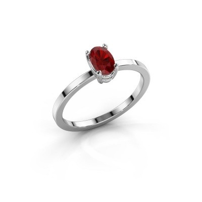 Photo de Bague Lynelle 1 585 or blanc rubis 6x4 mm