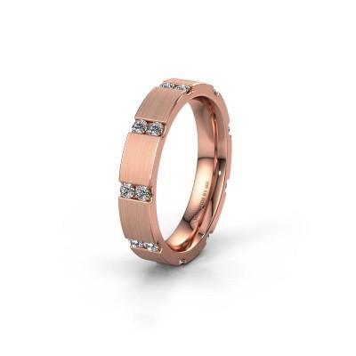 Huwelijksring WH2132L14BM 375 rosé goud diamant ±4x2.2 mm
