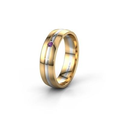 Wedding ring WH0420L25X 585 gold amethyst ±0.20x0.06 in