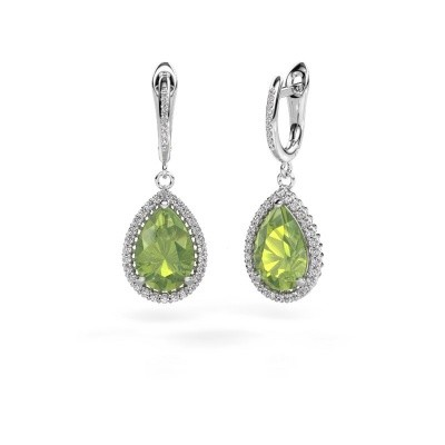 Drop earrings Hana 2 585 white gold peridot 12x8 mm