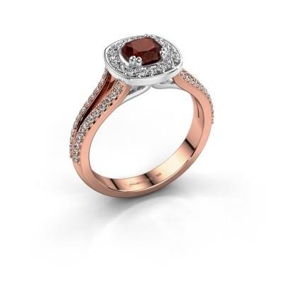 Engagement ring Carolina 2 585 rose gold garnet 5 mm