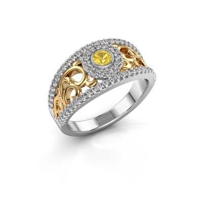 Foto van Ring Lavona 585 witgoud gele saffier 3.4 mm
