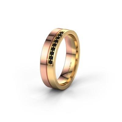 Wedding ring WH0213L15AP 585 rose gold black diamond ±0.20x0.07 in