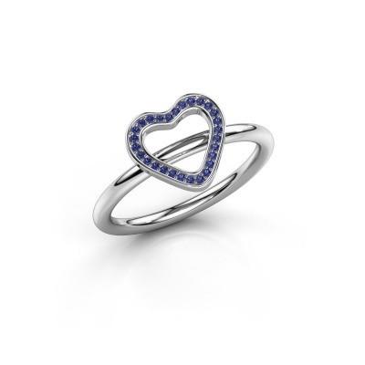 Ring Initial heart 950 platina saffier 0.8 mm