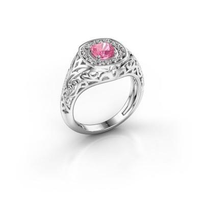 Foto van Heren ring Quinten 925 zilver roze saffier 5 mm