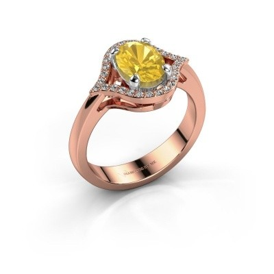 Ring Mendy 585 rosé goud gele saffier 8x6 mm