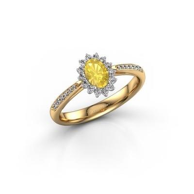 Foto van Verlovingsring Tilly 2 585 goud gele saffier 6x4 mm