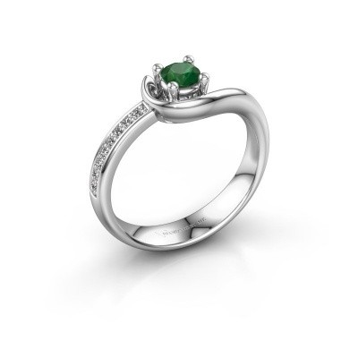Foto van Ring Ceylin 585 witgoud smaragd 4 mm