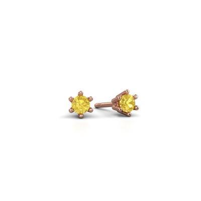 Foto van Oorbellen Fay 375 rosé goud gele saffier 3.4 mm