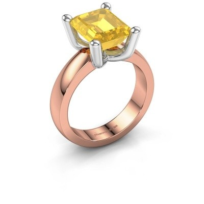 Ring Clelia EME 585 rosé goud gele saffier 10x8 mm