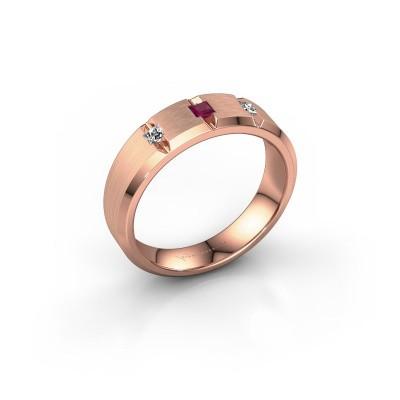 Mannen ring Justin 375 rosé goud rhodoliet 2.5 mm